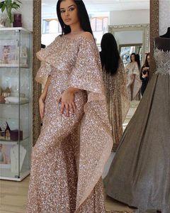 Vintage Champagne pailletée Poète manches robes de soirée Sparkly Plus Size Mermaid Prom Robe Plus Size Party Dress formelle Pageant