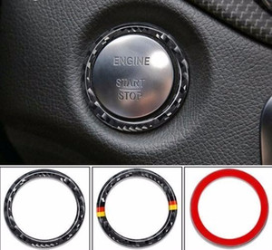 Car Key Start Stop Decoration Circle Cover Car Styling Fit For C E Class W205 Carbon Fibre Ring