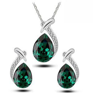 Water Drop Серьги Кристалл ожерелье наборы подвеска Кристалл Посеребренная себе ожерелье стержня венчания ювелирных изделий Рождественский подарок