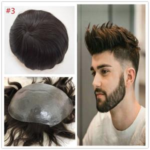 Full Thin Skin Pu Mens Toupee Indian Human Hair Toupees para hombres Sistema de reemplazo Postizos 8X10 pulgadas Full Pu Men Wig Envío gratis