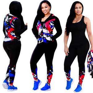 Mulheres 2 Piece Brasão Set Outono Primavera Outfit moleton manga comprida + calças calças Treino Sportswear alta Quality Club Clothing