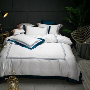 5-Sterne-Hotel White Luxury 100% ägyptischer Baumwolle Bettwäsche-Sets Voll Königin King Size Bettbezug Bett / flaches Blatt Spannlaken Set