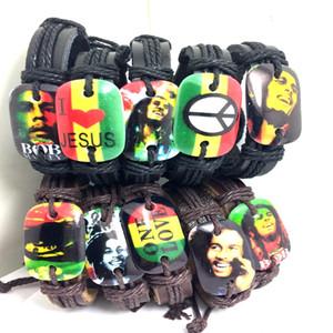 atacado 40Pcs Couro Bob Marley Design paz mundial pulseira Jesus Rasta Jamaica cantor de reggae pulseiras wristabands jóia da forma legal