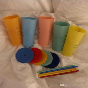 fast delivery 24oz color changing cup Plastic Drinking Tumblers with lid and straw Candy colors Reusable cold drinks cup magic mugs