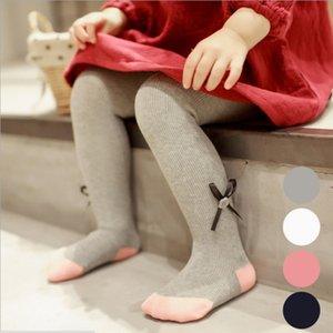Çocuk Elbise Çorapları Bahar ve Yaz Solid Fiyonklar Külotlu Çorap Yeni Bebekler Bebek Kız Tayt Çorap Çocuk Günlük Pamuklu Çorap
