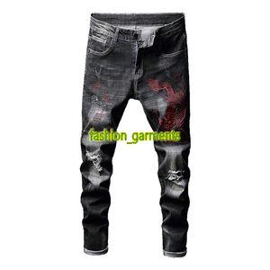 2019 hommes Tendance Noir Pantalons Jeans brodé Mens Fashion Jeans de haute qualité personnalisés Jeans brodés