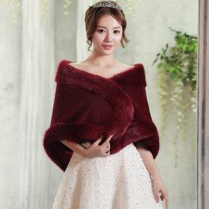 2019 Nova Chegada do Inverno Xales Quentes Mulheres Moda Vinho Vermelho Nupcial Wraps Longo Faux Fur Casacos de Casamento Em Estoque