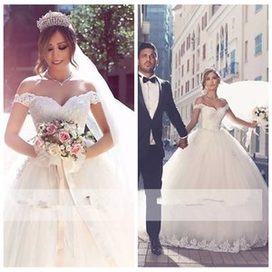 Off Shoulder Lace Appliques A-Line Wedding Dresses Lace Up Back Bridal Gowns Custom Modest Middle East Vestidos De Mariee 2019 Cheap