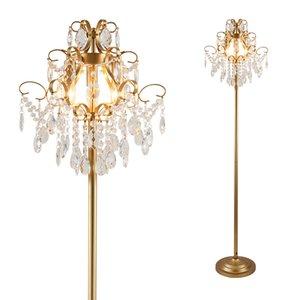 Kristal zemin lambaları highend oturma odası yatak odası çalışma aydınlatma Amerikan yaratıcı lamba altın kristal zemin lambası daimi zemin lambası