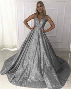 Gorgeous Rose Gold Sequined Prom Dresses New Sparkle Sequin A-line Prom Gowns Sexy Backless Abiye Party Dress Robe De Soiree