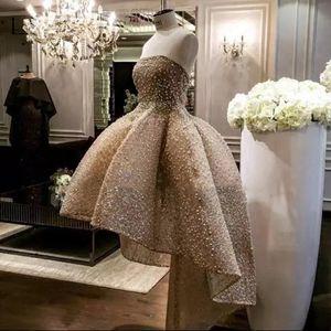 Luxe Champagne Perles Robe de cocktail haut + bas Robes de bal 2020 Abendkleider Arabie arabe Dentelle Robes de bal Abiye partie longue robe formelle