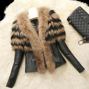 Plus Size S-6X Autunno Inverno Donne Faux Fur Coat del rivestimento di cuoio della signora Slim Fit Zipper PU Fluffy Leopard Breve Outerwear Patchwork