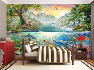 WDBH 3d papier peint photo personnalisée Coloré Océan Dolphin Land Tiger Forest Park salon décor à la maison 3d peintures murales papier peint pour les murs 3 d
