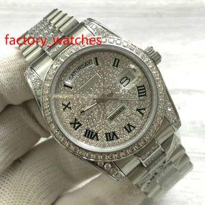 роскошные часы 36 мм алмазный циферблат 40 мм большой бриллиантовый безель корпус часов / ремешок набор шнек высокое качество автоматические мужские часы