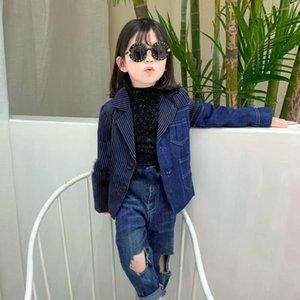chica y chicos denim patchwork abrigos de rayas niños Blazers Ropa de abrigo chaquetas de ropa para niños