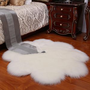Área de flores Alfombra de felpa piel de imitación de piel de oveja de la pelusa mullidas alfombras de flores Mat suave cálido y acogedor de la alfombra lanuda sólido para la sala de estar