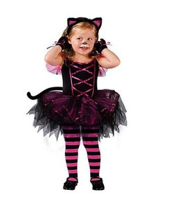 New Halloween Costumes for baby girl tutu dress + Headdress Cheshire Cat girl Prom Animal Cosplay Apparel kids girl clothes