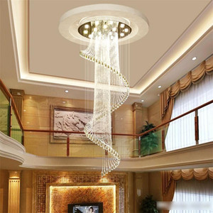 Lustre En Cristal Moderne K9 Lustres En Cristal Plafonnier En Spirale Moderne Créatif LED Salon Hôtel Villa Lumière Lustre Fix