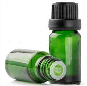 Hohe Qaulity 10ml grüne Glasflaschen Großhandel Leer Ätherische Öle Glasflasche Kosmetische Glasbehälter mit schwarzem Schraubverschluss