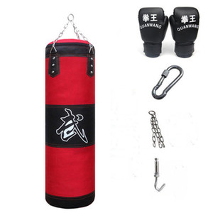 120cm Training Fitness Mma Boxing Punching Bag Empty Sport Kick Sandbag Muay Thai Boxer Training Set Wraps & Palm Sleeves & Hook