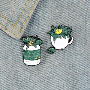 Grüne Pflanze Emaille Pin Blumen Pill Flasche glücklicher Leben Abzeichen Teeschale Brosche Jacke Rucksackbeutel Ehrennadel schöner Schmuck Dame Geschenke