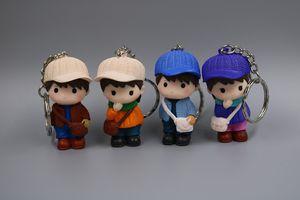 Sevimli Karikatür Bebekler KeyChain Boy Kız Anahtarlık Çanta kolye Şekil oto anahtarlığı Çift Anahtarlıklar Çocuklar Oyuncak Anahtarlık Mix 24pcs / lot