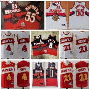 Hot 21 DominiqueWilkins 4 Webb 55 DikembeMutombo AtlantaHawksMen Mitchell & Ness 1986-87 Swingman Basketball Jersey