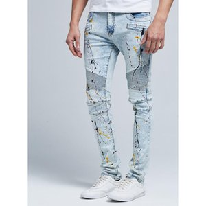 Mode Trend HIPHOP MENS Designer WASSED BLUE Jeans Drapierte Distressed Lange Spring Man Street Jean Pants