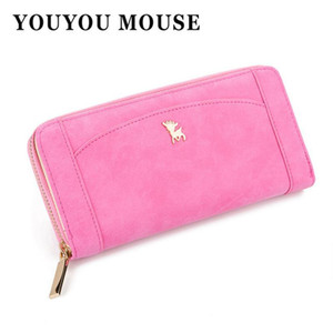 YOUYOU MOUSE Korean New Style Womens Wallets Long Splicing Solid Color Animal Pattern Wallet Hasp 2 Fold PU Leather Wallet