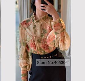 Alta calidad de las mujeres de seda impreso floral de manga larga de cuello de pie camisa de la blusa superior con ahueca hacia fuera los volantes del cordón del remiendo SH190918