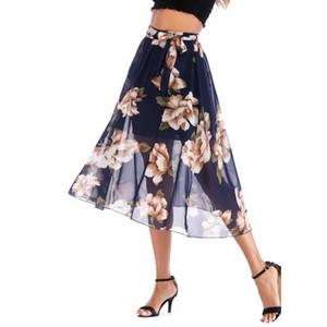 2019 mode estivale européennes et américaines jupe courte florale jupe en mousseline de soie floral de contraste de couleur