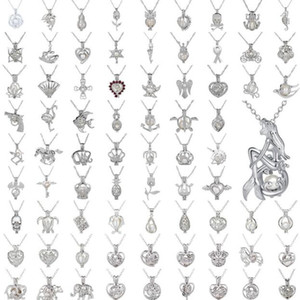 Collar colgante de perlas Jaula Love Wish Perla natural con diseño de la mezcla de la perla de ostra Diseño Hueco Medallón Cadena de clavícula Collar difusor 50pc