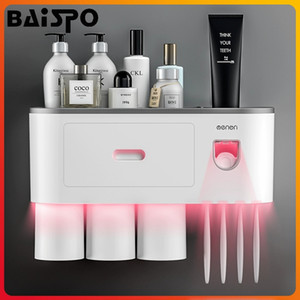 BAISPO Magnetic Holder adsorbimento Spazzolino Inverted Cup automatico di dentifricio Squeezer Dispenser casa accessori bagno Set