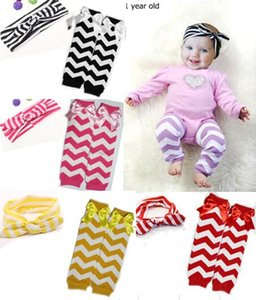 Dropshipping New baby Chevron Leg Warmers Socks Rabbit ears headband suit For Baby Child Knee Pads Toddler Baby Leg Warmers 5set 10pcs