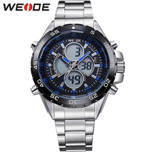 WEIDE de plata de acero inoxidable para hombre impermeable analógico digital Bracelect la fecha auto relojes de cuarzo masculino Top Brand relojes baratos