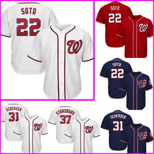 Ucuz 22 Juan Soto Jersey 31 Max Scherzer'in 37 Stephen Strasburg 7 Trea Turner Beyzbol Formalar Nakış Logolar
