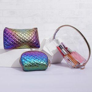 3 Conjunto láser moda Bolsa de Cosméticos Wish caso del maquillaje a prueba de agua portátil de belleza Higiene Organizador de viajes de negocios Make Up Box