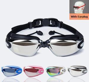 Neue Unisex Galvanik Anti-Fog UV Schwimmen Tauchen Gläser Weitere Farben Silikon Professionelle Myopie Schwimmbrille Ohrstöpsel