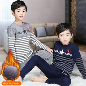 Ropa para niños otoño e invierno pantalones térmicos nuevos muchachos de la ropa interior de bebé más gruesa de terciopelo de manga larga jersey simple pijamas Set 2