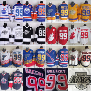 Vintage 99 Wayne Gretzky Los Angeles Kings Edmonton Oliers St. Louis Blues New York Rangers LA Black Blue Purple White Ice Hockey Jerseys