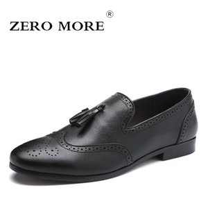 ZERO MORE Slip On Tassel Brogues Loafers Male Shoes Casual Mens Casual Shoes Formal Pointed Toe Solid Black Men 2019 Dress