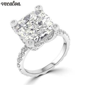 Vecalon Уникальный Дизайн кольцо стерлингового серебра 925 пробы подушка 5A Cz Обручальные кольца для женщин Мужчины ювелирные изделия