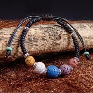Ethnic Colourful Volcano Lava Stone Beads Bracelet DIY Aromatherapy Essential Oil Diffuser Women Bracelet
