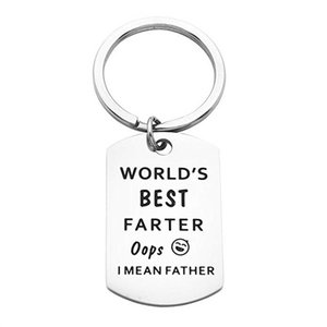 Fathers Gift Key Ring World's Best Farter Ever Oops I Mean Father Dad Mother Keychain Titanium Steel Keyring Family Jewelry Daddy Key Chain