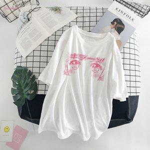 Summer Japanese New Cartoon Cute Kawaii Cap Sleeve Harajuku Loose Short Sleeve White Tops Tees O Neck Funny Womens T Shirt