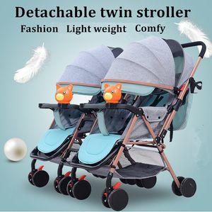 Gêmeo Carrinhos Combinável e destacável carrinhos de criança gêmeo do transporte de bebê do bebê destacável Carriage leve dobrável carrinho de bebê