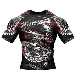 Compressione Custom Design maglietta stampata Sleeve Tee Cowboy stile tuta MMA BJJ Rash Guardie per gli uomini CX200702