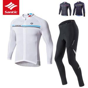 Santic Maillot cyclisme Set Men Pro Bike Team vélo jersey à manches longues 4D Pad Tour de France Cyclisme Vêtements Set Ropa Ciclismo