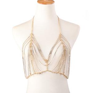 Caliente popular de moda de alta calidad súper brillante brillante hermoso sujetador completo diamantes de imitación oro plata moda cuerpo cadena joyería
