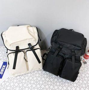 Unisex Backpack Man Travel Bag Large Capacity Plain Student Backpacks Nylon Waterproof Multiple Pockets